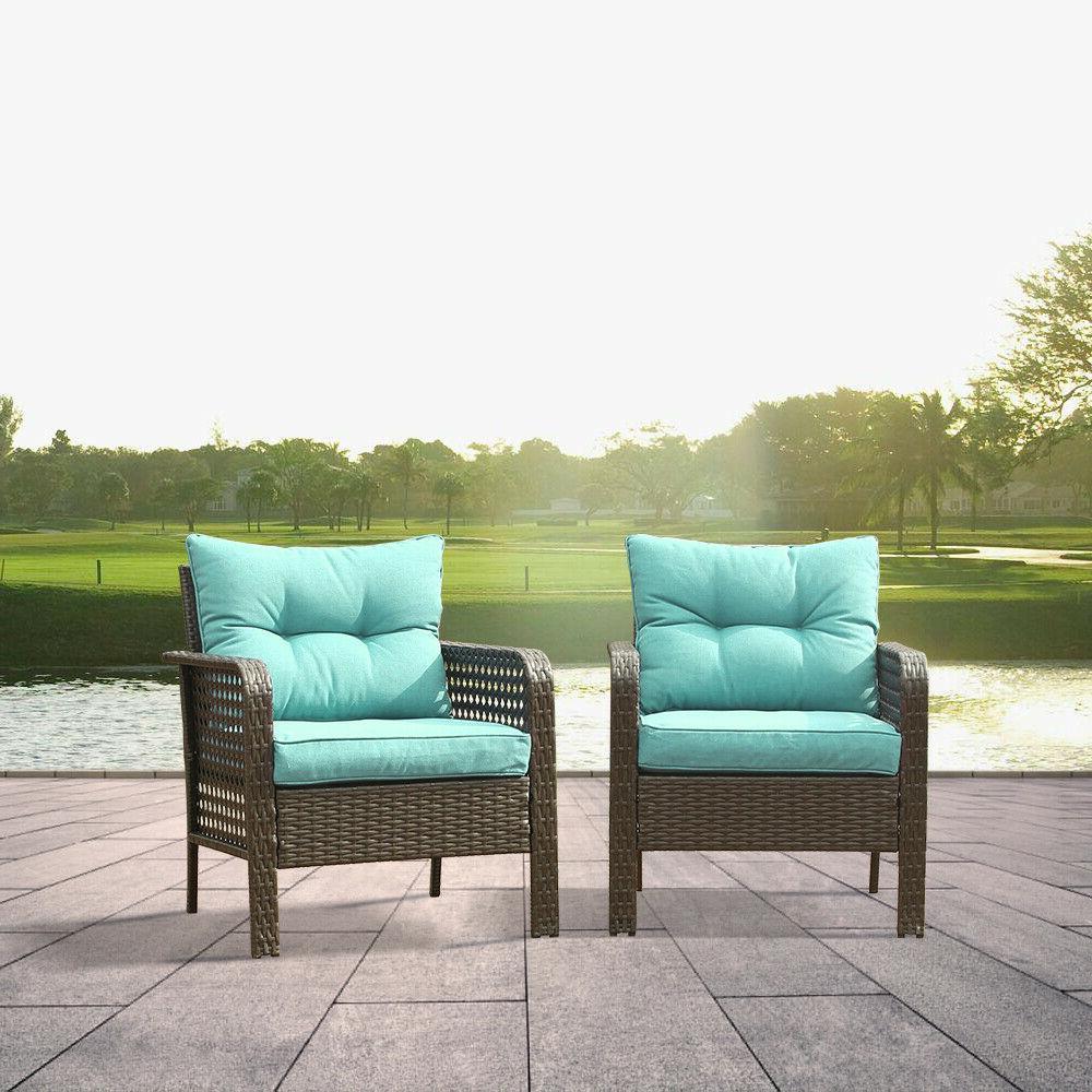 2PC Patio Set Wicker Garden Furniture Outdoor Sectional