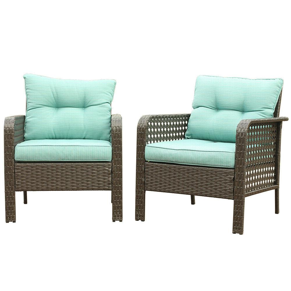 2pc patio rattan sofa set wicker garden