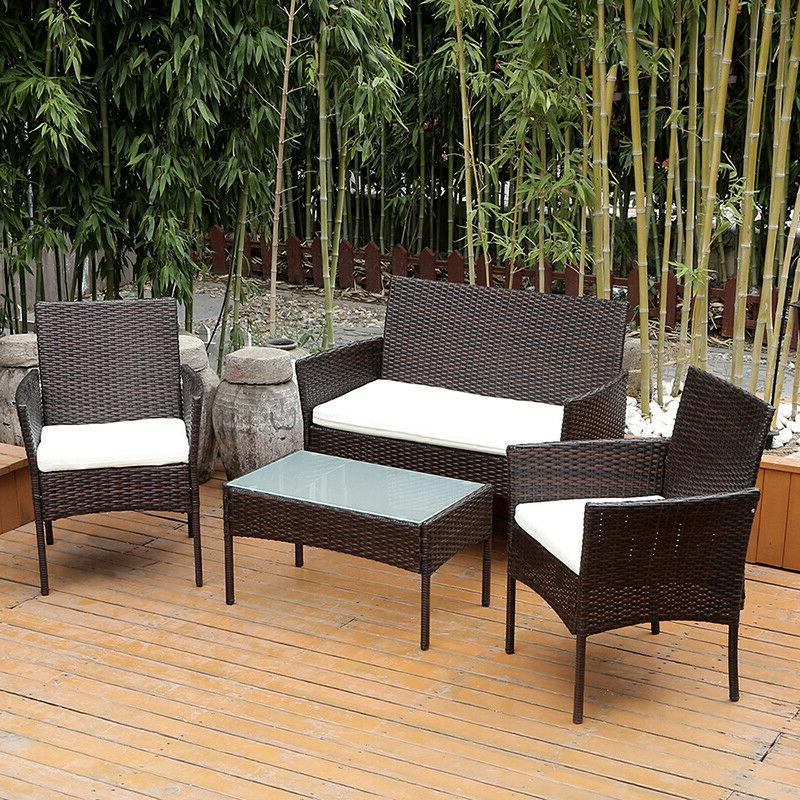 4Pcs Patio Sofa End Table Outdoor Furniture Garden Rattan Se