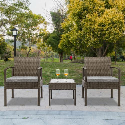 Conversation Set Wicker Rattan Furniture Patio Outdoor Garde