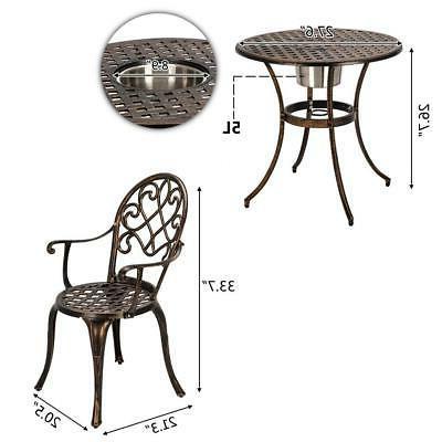 3-Piece Outdoor Cast Aluminum Patio Furniture