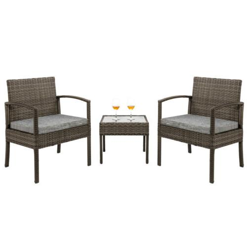 Conversation Rattan Furniture Outdoor Cushioned 3 Pieces