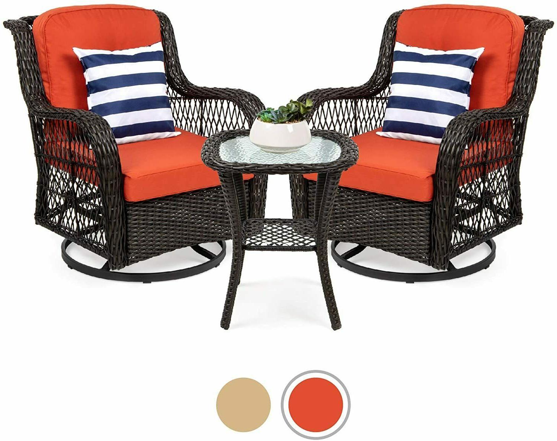 3 piece patio wicker bistro furniture set