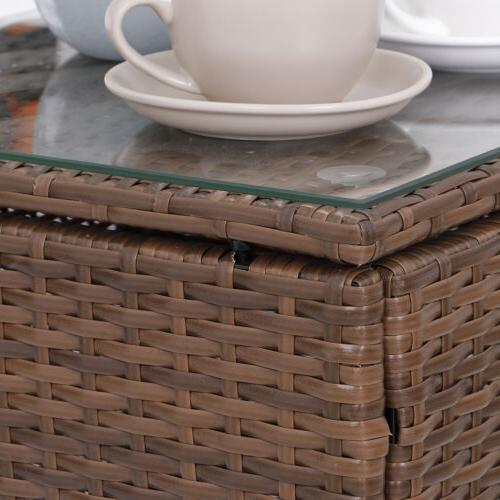 Patio Furniture Sets 3 Pieces PE Wicker with Outdoor