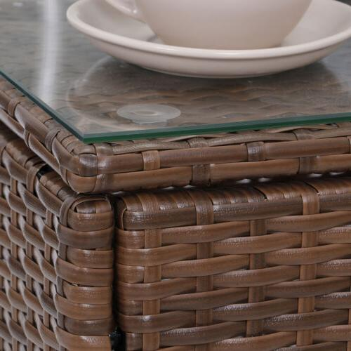 Patio Porch Furniture 3 Pieces Rattan Wicker Chairs with Outdoor