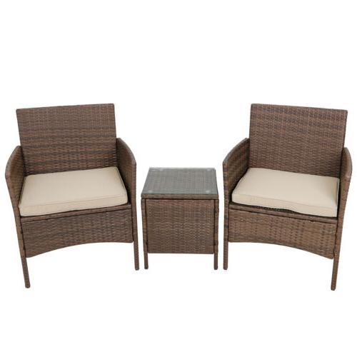 3pcs Outdoor Patio Bistro Set PE Rattan Wicker Furniture Con