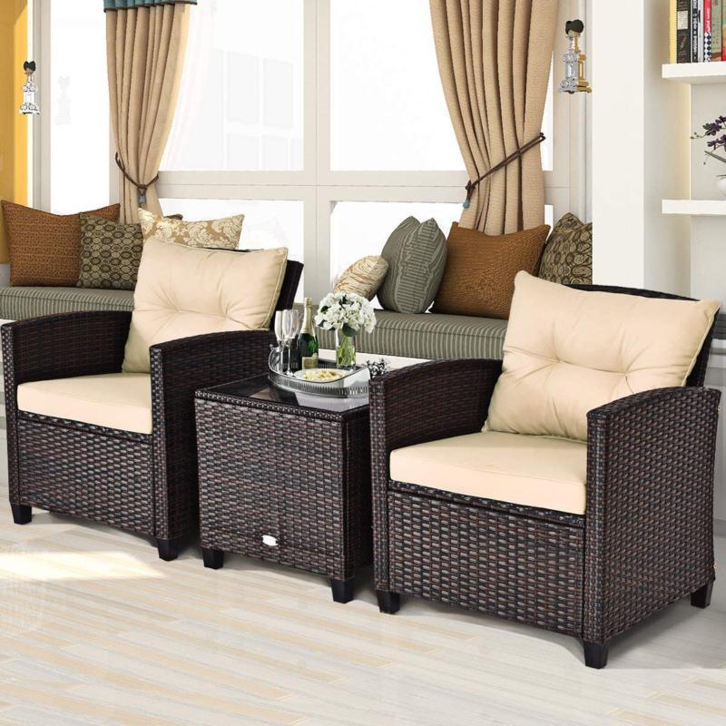Tangkula 3 Pieces Patio Furniture Set, Wicker Outdoor Sofa