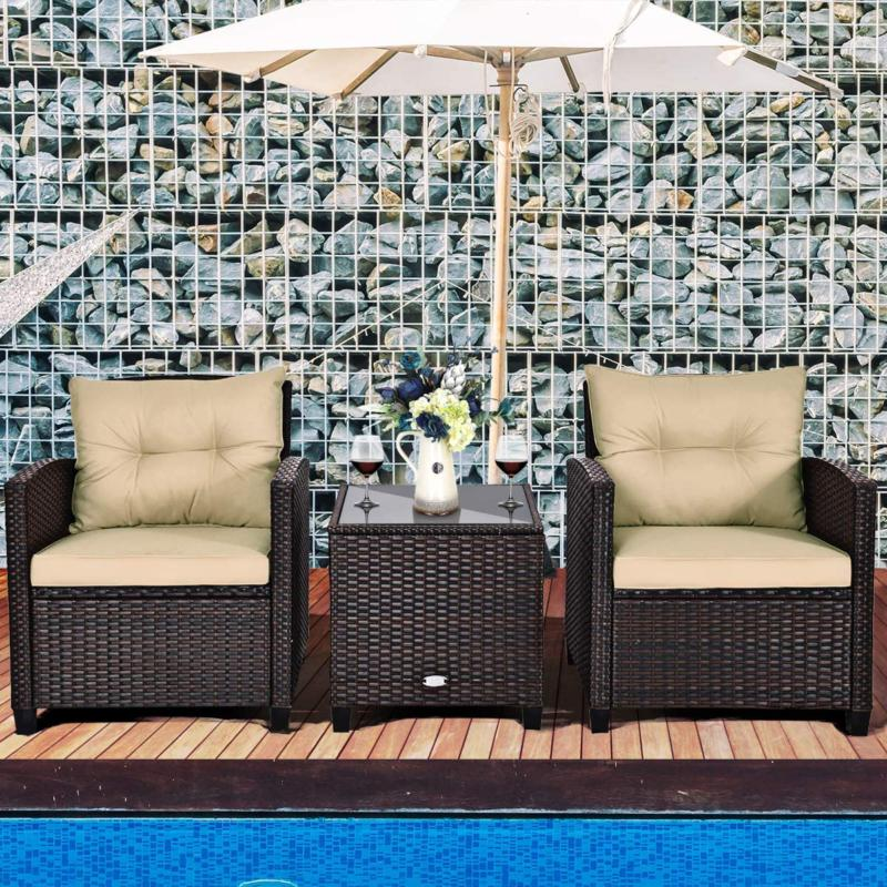 Tangkula Patio Furniture Pe Rattan Wicker 3 Sofa