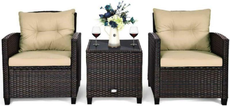 Furniture Pe Wicker 3 Sofa Set W