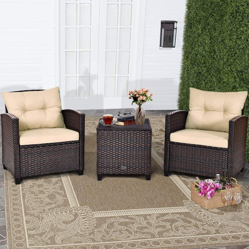 Tangkula 3 Furniture Pe Rattan Sofa