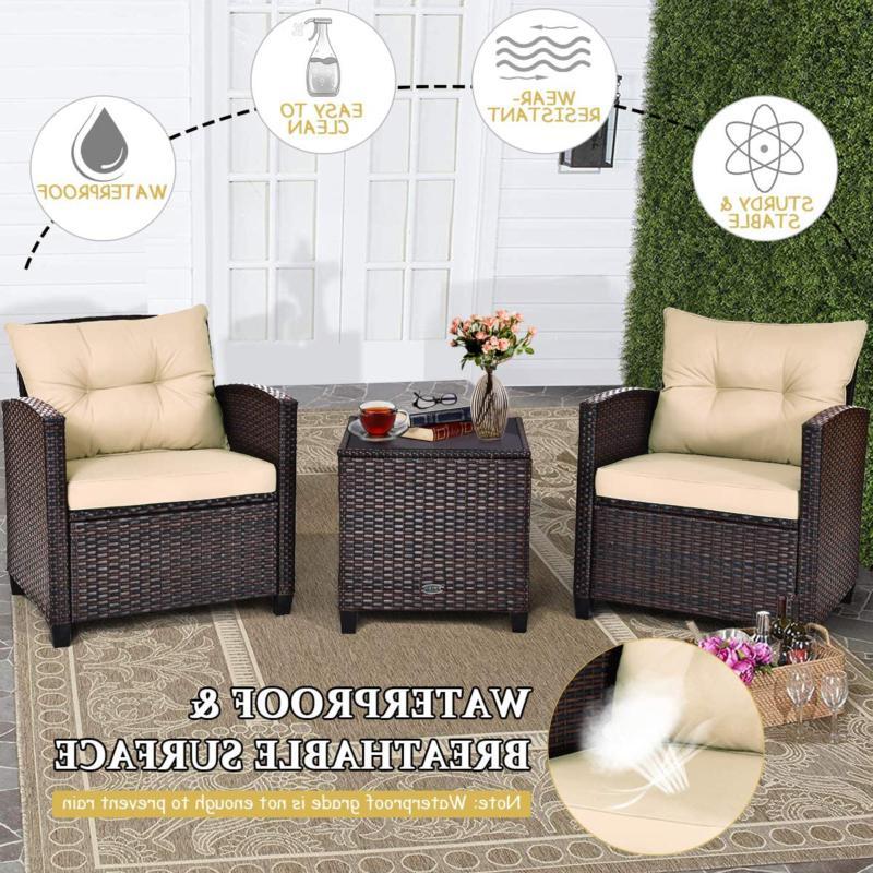 Tangkula Furniture Pe Rattan Wicker 3 Pcs Sofa