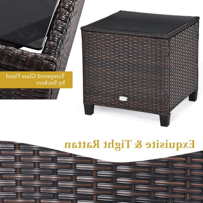 Tangkula Pieces Furniture Set, Pe Wicker 3 Sofa Set