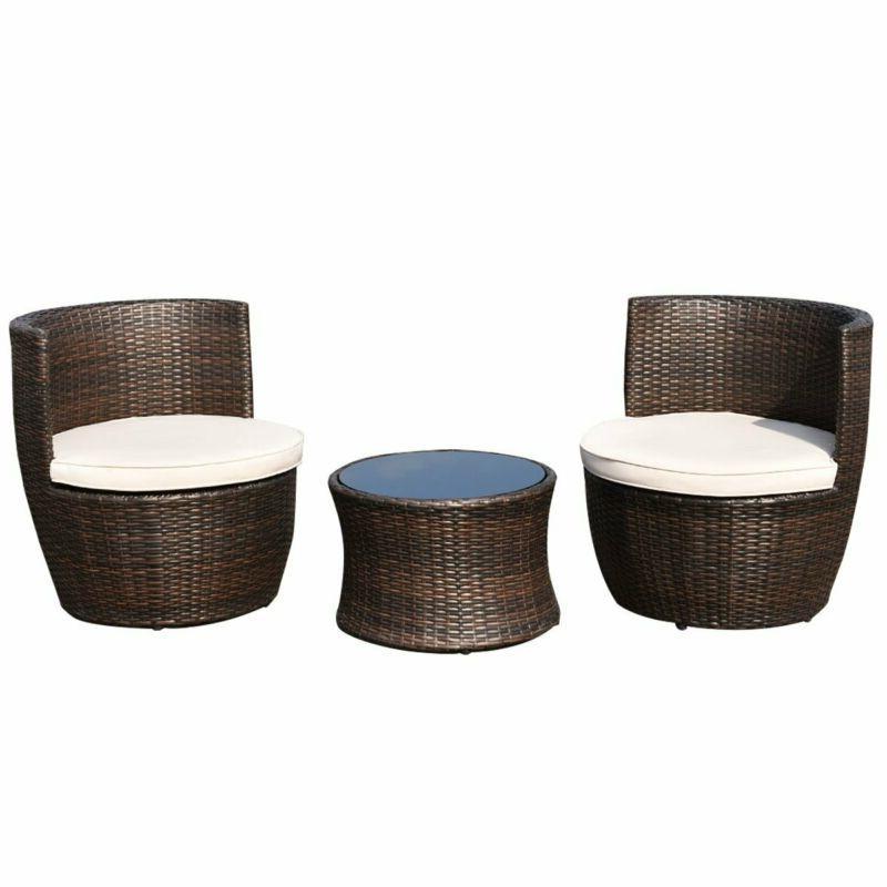 3PC Patio Furniture Set Modern Compact Conversation Cushions