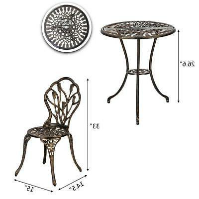 3PC Bistro Metal 3 Pieces Outdoor Furniture
