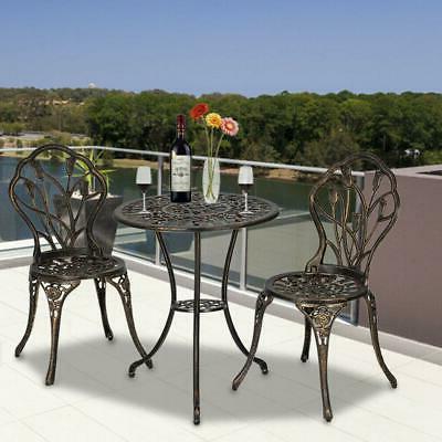 3PC Set Outdoor Metal Chair Table Brozen 3 Pieces Outdoor Furniture