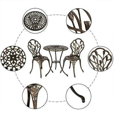 3PC Bistro Set Metal Chair 3 Pieces Outdoor Furniture