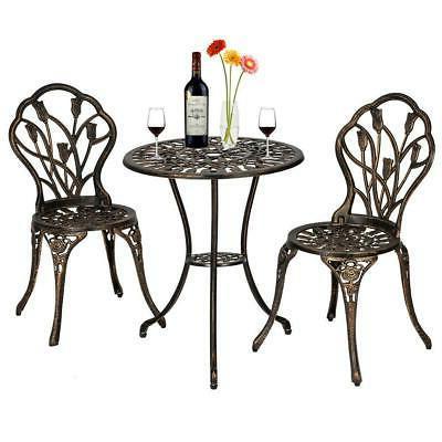 bistro set outdoor metal chair table brozen