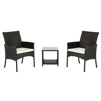 3Pcs Patio Sofa Set /w Cushions Wicker Chair