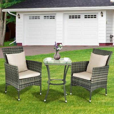 3PCS Patio Set Chairs & Garden Grey