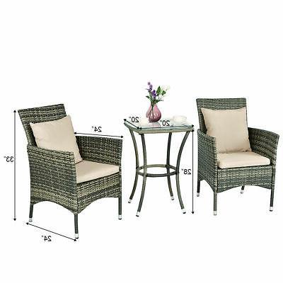 3PCS Patio Set Chairs Garden