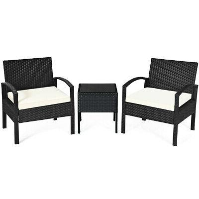 3PCS Patio Rattan Furniture Set Conversation Sofa Cushioned
