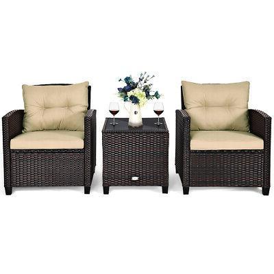 3PCS Set Cushioned Sofa Coffee Table