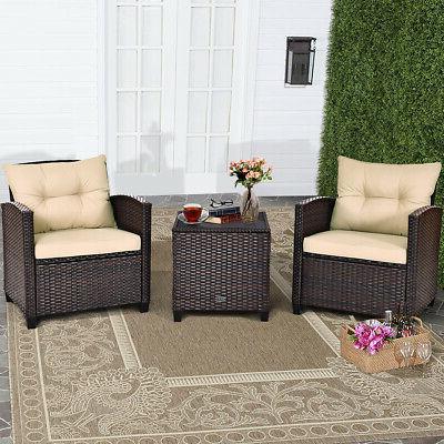 3PCS Patio Set Cushioned Set Sofa Coffee Table