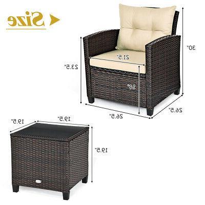 3PCS Patio Furniture Set Sofa Table