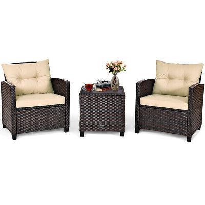 3pcs patio rattan furniture set cushioned conversation