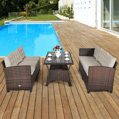 3PCS Dining Set Patio Furniture Sofa Cushioned for Use