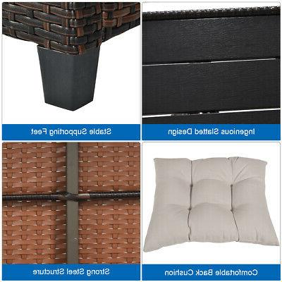 3PCS Patio Seats Sofa Cushioned Use