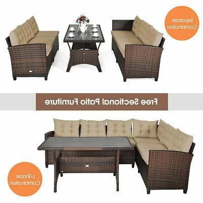 3 Rattan Set Patio Seats Table