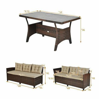 3 Pieces Set Patio Seats Sofa Cushioned Table