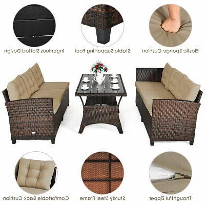 3 Pieces Rattan Seats Sofa Table