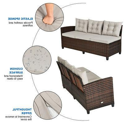 3PCS Patio Furniture 6 Sofa Use