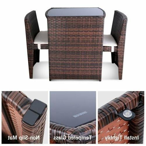 3PCS Wicker Rattan Table Chair Outdoor