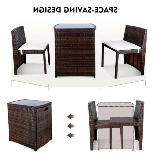 3PCS Patio Furniture Space Save Rattan Table Chair Set Outdoor