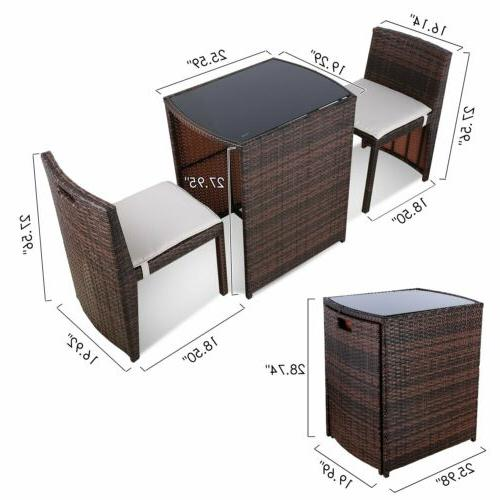 3PCS Patio Furniture Rattan Table Chair Outdoor