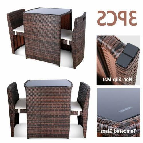 3pcs wicker bistro set patio furniture space