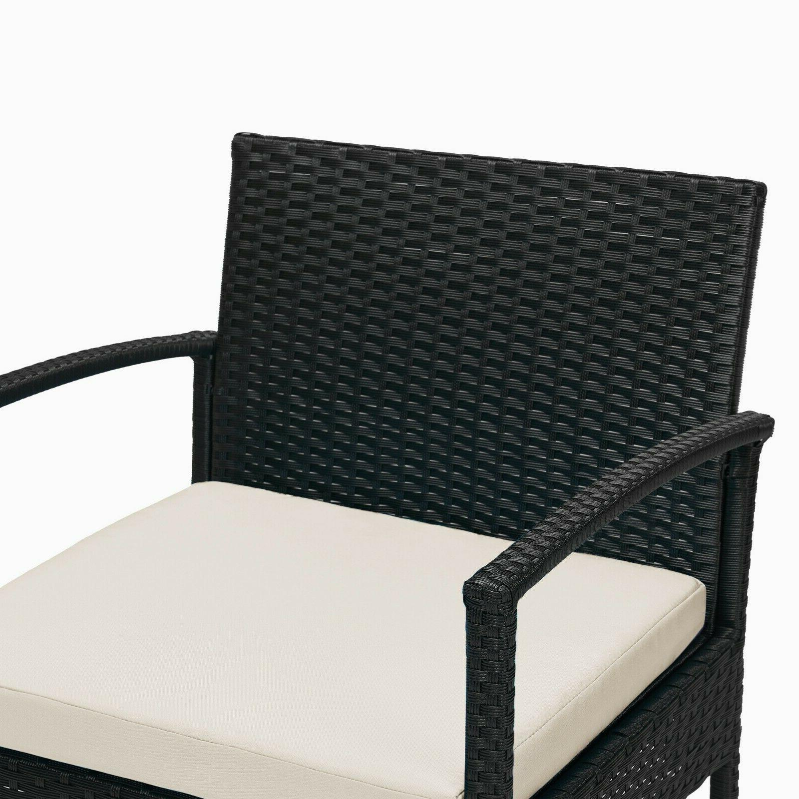 3pcs Rattan Outdoor Furniture Bistro Set Garden