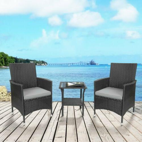 3piece outdoor patio mix brown rattan wicker
