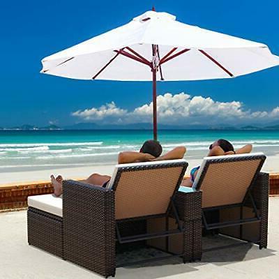 3Ps Wicker Storage Sun w/Cushions Patio