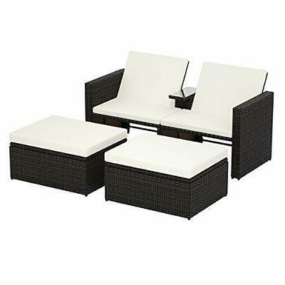 3Ps Wicker Storage w/Cushions Patio