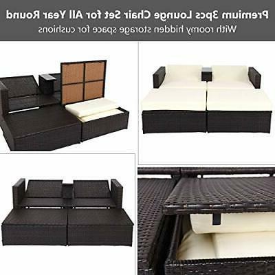 3Ps Chaise Storage Sun Lounge w/Cushions Patio