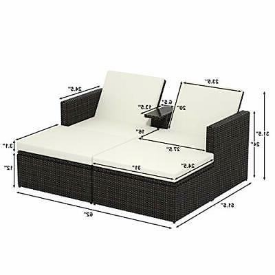 3Ps Wicker Storage Sun Daybed w/Cushions
