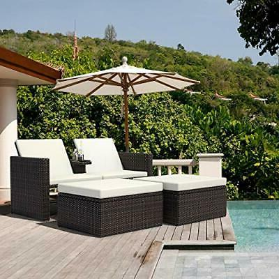 3ps wicker chaise outdoor storage sun lounge