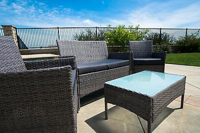 4 PC Rattan Furniture Lawn Sofa Cushioned Seat