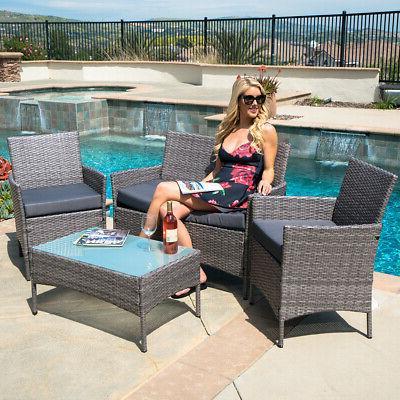 4 PC Rattan Furniture Set Outdoor Patio Garden Sectional PE