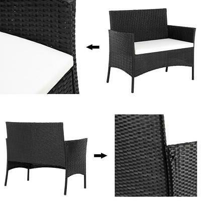 4PCS Outdoor Patio Rattan Black Wicker Table Sofa Furniture