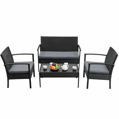 Rattan Wicker Table Black